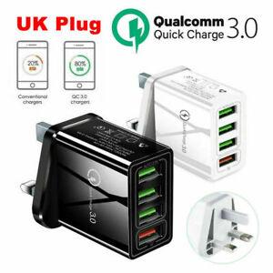 UK Plug 4 Multi-Port Fast Quick Charge QC3.0 USB Hub Mains Wall Charger Adapter