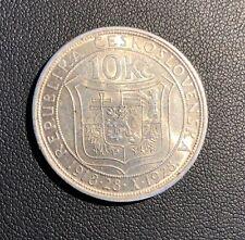 UNC 1928 Czechoslovakia 10 Korun !Nice Grade Attractive Silver Coin!