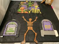 VINTAGE AMSCAN SKELETON SKULL HAUNTED HOUSE HANGING DIE CUT HALLOWEEN DECOR