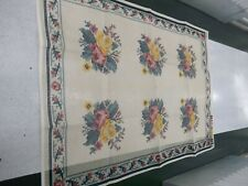 """Handpainted Rug Canvas Smyrna Laine 47"""" x 67"""" 3.5 sts to """" close out Courouales"""