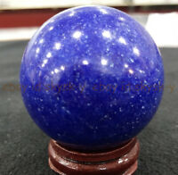 BLUE NATURAL LAPIS LAZULI GEMSTONE ROUND SPHERE BALL 48-50MM + STAND AA