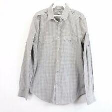 Express Mens Medium Fitted Long Sleeve Button Front Casual Dress Shirt Gray