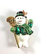 Joan Rivers Snowman Holiday Christmas Enamel Pin Brooch 1