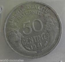 50 centimes morlon alu 1941 : TB : pièce de monnaie française