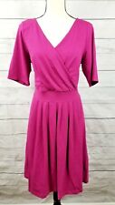 Lands End Pink V-Neck faux wrap Cotton for& flare Dress Womens L 14/16 S/S