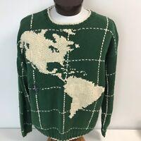 VTG Nautica World Map Sweater Large Green Nautical Sailing Globe