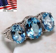 Aquamarine 925 Solid Sterling Silver Filigree Ring Jewelry Sz 6