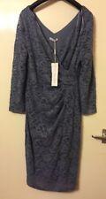 NEW Gina Bacconi Size 16 EU 42 Blue Grey Floral Lace V Neck Evening Dress