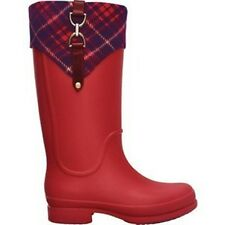 Crocs Women 5 Bridle Wellie Rain Boots Shoes Welly Raspberry Plaid Girls