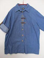 Os-TRACHTEN-jeans-blusa/camisa azul, krempelärmel, talla 40/42