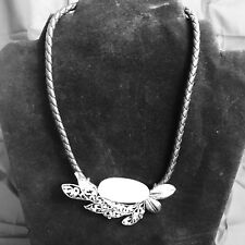"""NWT Black Leather With Silver And White Statement Piece (17""""-19"""") Clasp"""