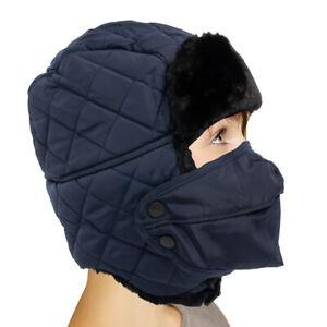 OMECHY Faux Fur Trapper Winter Hat Ear Flaps Windproof Mask Chin Strap Unisex