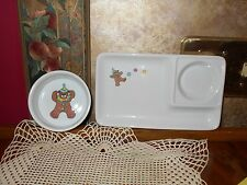 Child's Lunch Set Porcelain China Plate Bowl Porcelain Teddy Bears Balloon