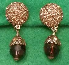 """HEIDI DAUS CLIP """" TEAR DROP """" EARRINGS AMETHYST & AMBER CRYSTALS vintage jewelry"""
