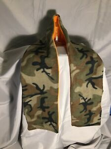 Camouflage and Orange, Pocket Scarf, Handmade, Soft Fleece,  Warm Winter Hunting