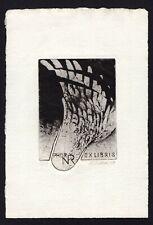 39)Nr.004-EXLIBRIS- Künstler unbekannt / artist unknown, signiert C3 -Radierung