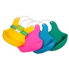 Waterproof Baby Bibs High Elastic Plastic Bib Apron Baby Feeding Food Catcher HQ