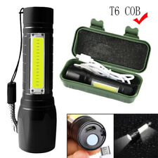 Rechargeable LED COB Portable Lamp 3-Mode USB Flashlight T6 Torch Zoomable Light