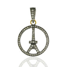 0.57 ct Natural Pave Diamond 18K Yellow Gold Eiffel Tower Pendant Jewelry