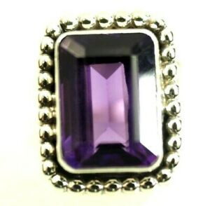 Russell Sam Navajo Ladies 7 carat Amethyst Ring Sterling Silver size 7.5 New