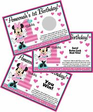 10 MINNIE MOUSE FUN TO BE ONE SCRATCH OFF OFFS PARTY CARDS 1ST BIRTHDAY FAVORS