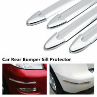 4X Universal Car Rear Bumper Sill Body Guard Protector Rubber Trim  Strip Chrome