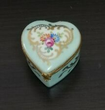 VERY RARE LIMOGES TRINKET BLUE BOX HEART SHAPE  WITH FLOWERS