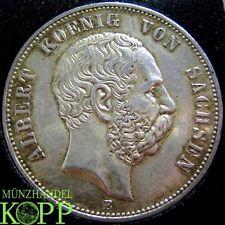 AA1067) J.125 SACHSEN 5 Mark 1900 E - Albert 1873-1902 - Silber