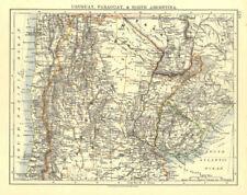 Uruguay Paraguay Argentina. River Plate Estados del norte Chile. Johnston 1906 Mapa