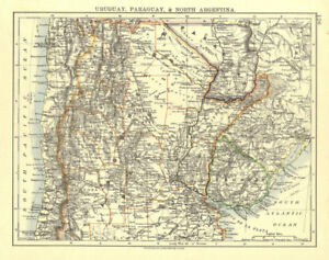 URUGUAY PARAGUAY NORTH ARGENTINA. River Plate States Chile.  JOHNSTON 1906 map