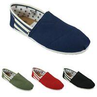 Mens Casual Stripe Summer Elasticated Slip On Espadrilles Plimsolls Canvas Shoes