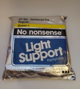 Vintage 1990 NOS No Nonsense Light Support Tan Reinforced Toe Pantyhose Queen 1