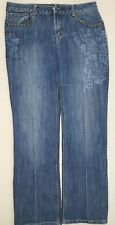 Baccini Women's Jeans Size Regular Cut Floral Embroidered Casual