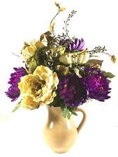 SALE! Chrysanthemum Peony Floral Arrangement Centerpiece Tuscan Ivory Purple