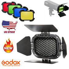 Godox For Ad200 Flash Speedlite Bd-07 Barn Door Honeycomb Grid & 4 Color Filters