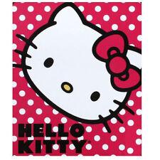 "HELLO KITTY POLKA DOTS RED THROW FLEECE BLANKET Size 46""X60"" by Sanrio NEw"