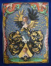 GLOCKENDON Wappen Miniatur 1548 A.D.Sign.Pergament GOLD VELLUM Miniature MUSEAL!