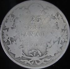 1909 Good Canada Silver 25 Cents - KM# 11 - Free Shipping - JG