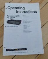 Operating Instructions Manual Panasonic VHS NV-J31PX Video Cassette Recorder VCR