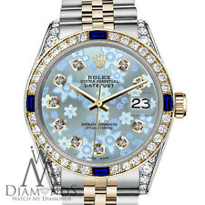 Rolex 26mm Datejust 2 Tone Glossy Ice Blue Flower Dial with Sapphire & Diamond