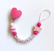 Schnullerkette Schnullerband mit Namen Wunschname Silikon Beißkette rosa pink
