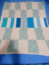 HAND MADE KNITTED WOOL PINK/BLUE BLOCK PATTERN BLANKET 110 CM SQUARE BR. NEW