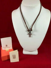 NEW James Avery I Minus Cross Necklace Sterling Silver and Brown Leather