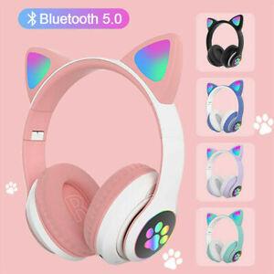 Wireless Cat Ear Headphones Bluetooth Headset LED Lights Earphone For Kids Gifts