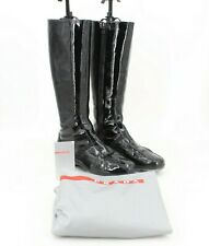 Prada 3W3260 Women's Calzature Donna Black patent Leather Zip Up Boots Size 7