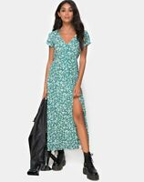 MOTEL ROCKS Sanrin Midi Dress in Floral Field Green XS (MR17)