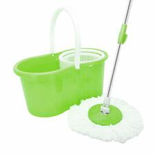 Microfiber Spinning Magic Rotating Head Easy Cleaning Floor Mop Bucket Set Green