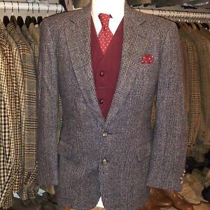 Vintage Mens Tweed Windowpane Plaid Check Suit Jacket Blazer Harris Style 42 42R