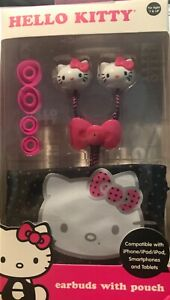 HELLO KITTY Earbuds with extra cushions & pouch.High Quality Sound, Pink & White