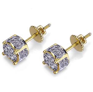 Unisex Round Solitaire Hip Hop 14K Gold Silver Diamond Screw Back Stud Earrings